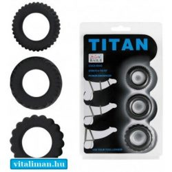 Titan 3 in 1 Silicone Rings Black - 3 db