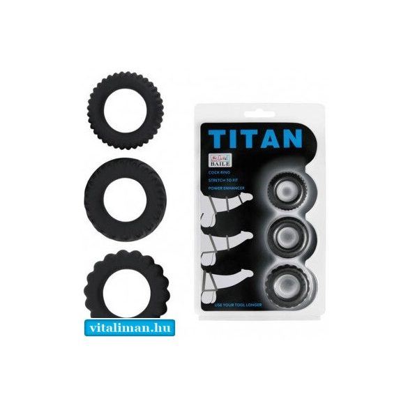 Titan 3 in 1 Silicone Rings Black - 3 db