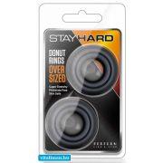 STAY HARD DONUT RINGS OVERSIZED BLACK péniszgyűrű - 2 db